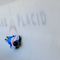 28 February 2007:  Sergei Chudinov of Russia in turn 18 the 3rd run at the Men's Skeleton World Championships competition on February 28 at the Olympic Sports Complex in Lake Placid, NY.