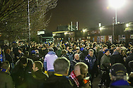Fans arrive ahead of the FA Cup match at between AFC Wimbledon and Liverpool at the Cherry Red Records Stadium, Kingston<br /> Picture by David Horn/Focus Images Ltd +44 7545 970036<br /> 05/01/2015