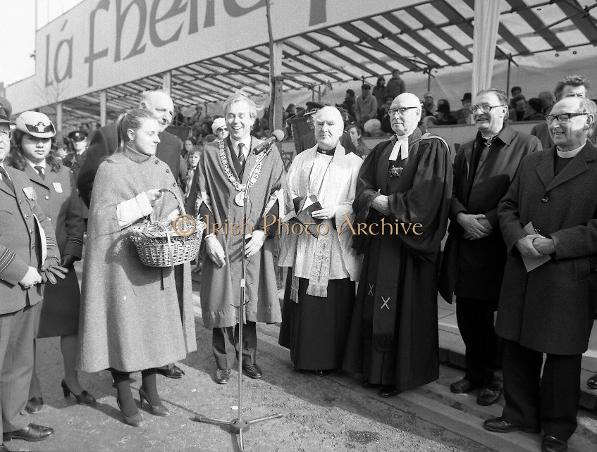St Patrick's Day Parade.1982.17/03/1982.03.17.1982.17th March 1982..An image as Shamrock is presented to the Lord Mayor as dignitaries from the various churches look on