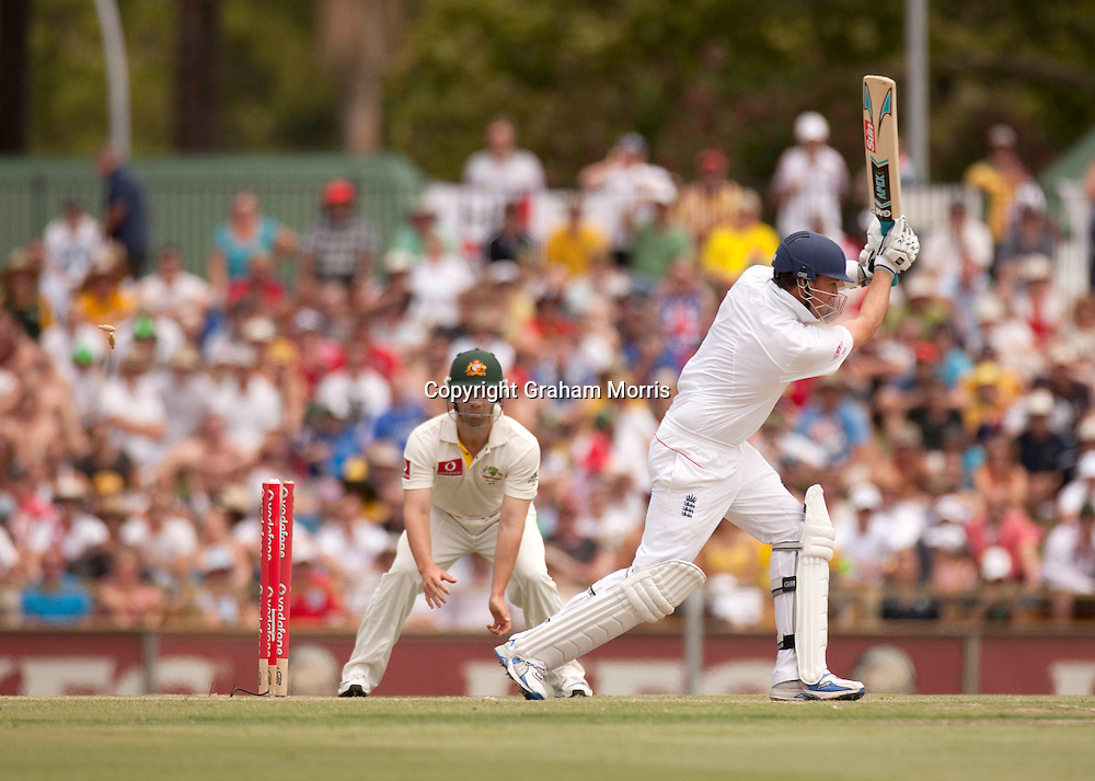 Graeme Swann is bowled as England are about to lose the third Ashes test match to Australia at the WACA (West Australian Cricket Association) ground in Perth, Australia. Photo: Graham Morris (Tel: +44(0)20 8969 4192 Email: sales@cricketpix.com) 19/12/10