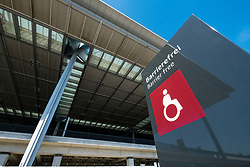 View of disabled sign at  Brandenburg Willy Brandt Airport Terminal uncompleted and 7 years behind schedule in Berlin Germany