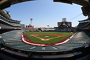 ANAHEIM, CA - JULY 05:  General view of the stadium from the press box behind home plate at the Los Angeles Angels of Anaheim game against the Baltimore Orioles at Angel Stadium on Sunday, July 5, 2009 in Anaheim, California.  The Angels defeated the Orioles 9-6.  (Photo by Paul Spinelli/MLB Photos via Getty Images)