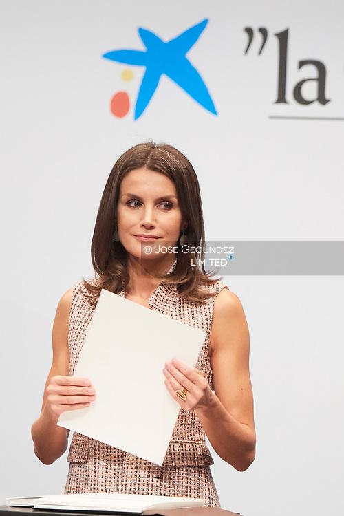 Queen Letizia of Spain attends 'La Caixa' Scholarship awards 2018 at Caixa Forum on May 28, 2019 in Madrid, Spain