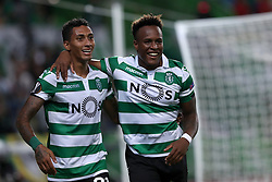 September 20, 2018 - Lisbon, Portugal - Sporting's forward Jovane Cabral from Cabo Verde (R ) celebrates after scoring team's second goal with forward Raphinha from Brazil who scores the first during the UEFA Europa League Group E football match Sporting CP vs Qarabag at Alvalade stadium in Lisbon, on September 20, 2018. (Credit Image: © Pedro Fiuza/NurPhoto/ZUMA Press)