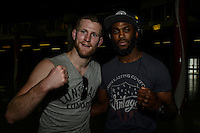 ADAM SPEECHLY and HENRY FADIPE during EFC Africa 26 Weigh-in, 11 December  2013, The Dome, Johannesburg.