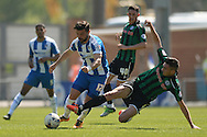 Elliot Lee of Colchester United looks to get past Matthew Lund of Rochdale during the Sky Bet League 1 match between Colchester United and Rochdale at the Weston Homes Community Stadium, Colchester<br /> Picture by Richard Blaxall/Focus Images Ltd +44 7853 364624<br /> 08/05/2016