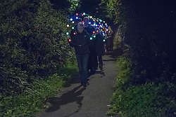 Artist Deirdre Macleod lead a walk of lights through the streets and back lanes of Portobello down to the beach as the second weekend of Art Walk Porty got underway. © Jon Davey/ EEm
