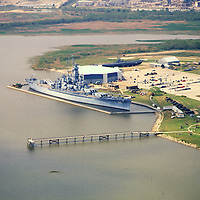 Aerial Photographs of uss alabama Mobile Alabama