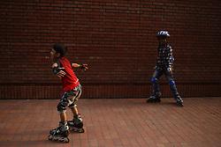 October 8, 2018 - Dhaka, Bangladesh - Children practice skating as skating gets popular on youth at Suhrawardy Udyan. (Credit Image: © MD Mehedi Hasan/ZUMA Wire)