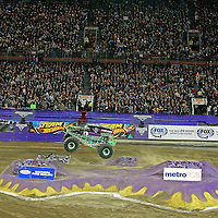 Grave Digger, driven by Dennis Anderson is seen during the Monster Jam big truck event at the Citrus Bowl in Orlando, Florida on Saturday, January 25, 2014. (AP Photo/Alex Menendez)