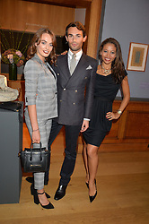 Left to right, LADY VIOLET MANNERS, MARK-FRANCIS VANDELLI and VISCOUNTESS WEYMOUTH at a party to celebrate the publication of Capability Brown & Belvoir - Discovering a lost Landscape by The Duchess of Rutland, held at Christie's, 8 King Street, St.James, London on 7th October 2015.