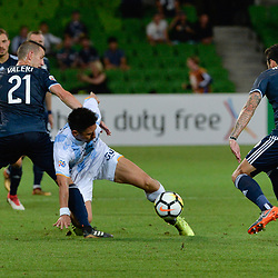 Carl Valeri (c) of Melbourne Victory FC, Toyoda Yohei (Toyoda) of Ulsan Hyundai (3:3)  -  AFC Champions League, 13 February 2018, Group F, Melbourne Victory FC v Ulsan Hyundai at Melbourne Rectangular Stadium (Aami Park), Australia |© Mark Avellino | SportPix.org.uk