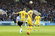 MK Dons defender Kyle McFadzean (5)  clears the ball  during the Sky Bet Championship match between Sheffield Wednesday and Milton Keynes Dons at Hillsborough, Sheffield, England on 19 April 2016. Photo by Simon Davies.