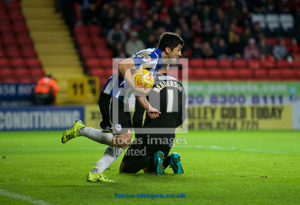 Fernando Forestieri of Sheffield Wednesday celebrates after scoring to make it 3-1 during the Sky Bet Championship match at The Valley, London<br /> Picture by Alan Stanford/Focus Images Ltd +44 7915 056117<br /> 07/11/2015