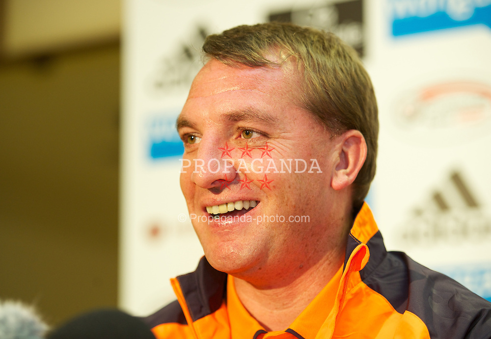 EDINBURGH, SCOTLAND - Wednesday, August 22, 2012: Liverpool's manager Brendan Rodgers during a press conference ahead of the UEFA Europa League Play-Off Round 1st Leg match against Heart of Midlothian at Tynecastle. (Pic by David Rawcliffe/Propaganda)