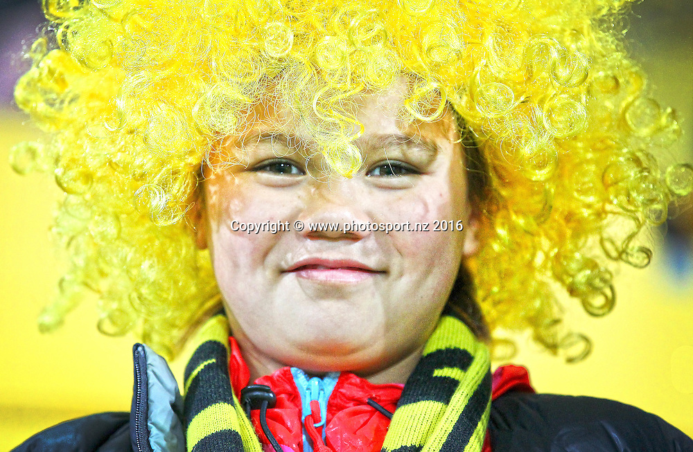 A young fan gets ready for kick off during the round 15 Super Rugby match, Hurricanes v Blues at Westpac Stadium, Wellington, New Zealand. 2nd July 2016. © Copyright Photo: Grant Down / www.photosport.nz