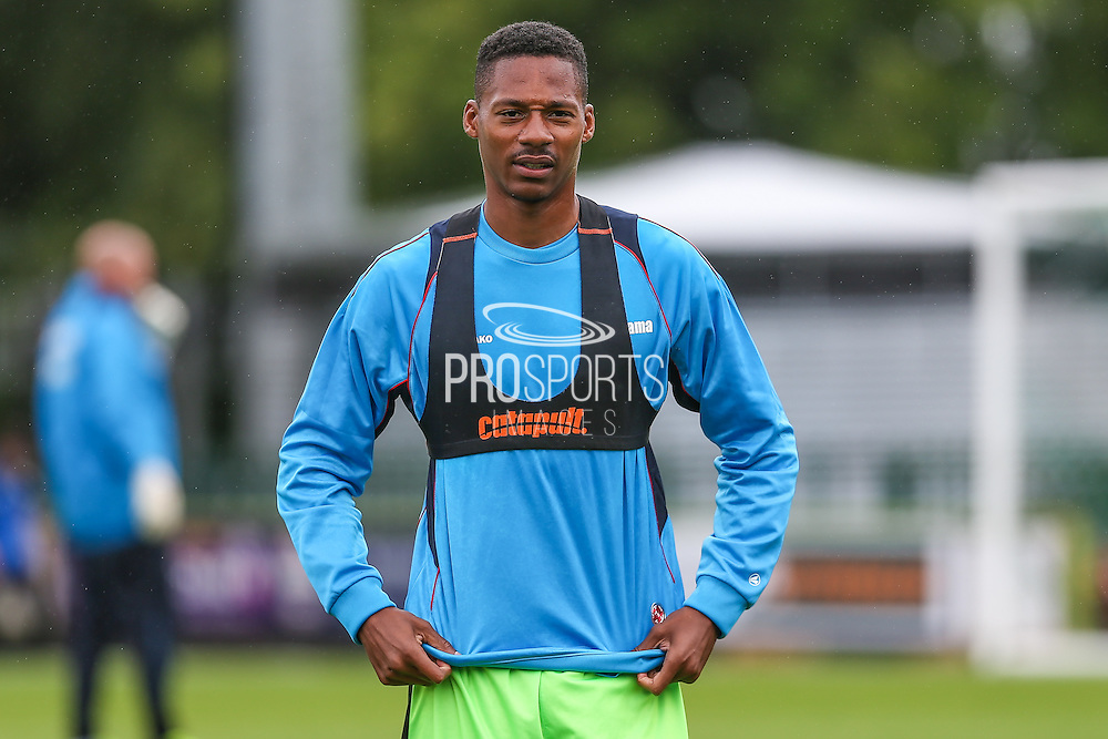 Forest Green Rovers Ethan Pinnock (16) warming up during the Vanarama National League match between Forest Green Rovers and York City at the New Lawn, Forest Green, United Kingdom on 20 August 2016. Photo by Shane Healey.
