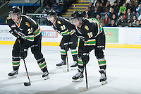 KELOWNA, CANADA - JANUARY 26: Carson Perreaux #25, Chance Braid #22 and Josh Morrissey #10 of the Prince Albert Raiders line up on the ice at the Kelowna Rockets on January 26, 2013 at Prospera Place in Kelowna, British Columbia, Canada (Photo by Marissa Baecker/Shoot the Breeze) *** Local Caption ***