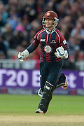 Ben Duckett Celebrates during the NatWest T20 Blast final match between Northants Steelbacks and Lancashire Lightning at Edgbaston, Birmingham, United Kingdom on 29 August 2015. Photo by David Vokes.