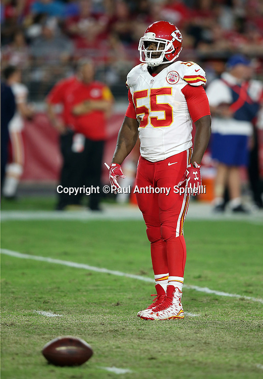 Kansas City Chiefs linebacker Dee Ford (55) looks on during the 2015 NFL preseason football game against the Arizona Cardinals on Saturday, Aug. 15, 2015 in Glendale, Ariz. The Chiefs won the game 34-19. (©Paul Anthony Spinelli)