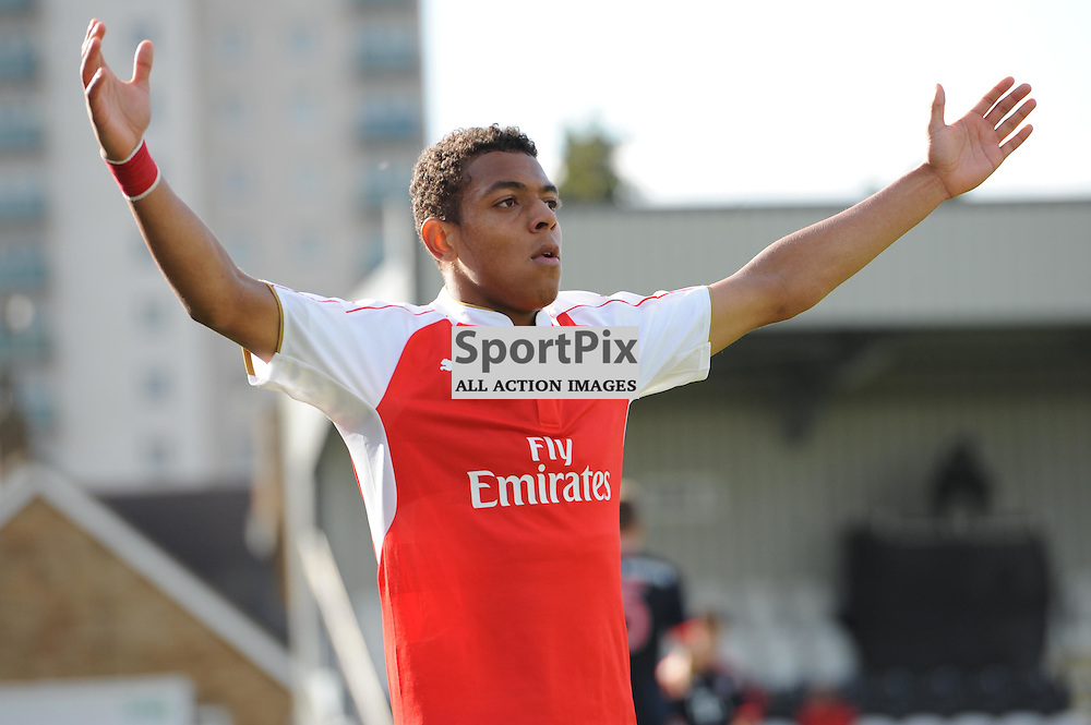 Arsenals Donyell Malen celebrates assisting Alex Iwobis second goal during the Arsenal u19 v Bayern Munich u19 match on Tuesday 20th October 2015 in the UEFA Youth League at Borehamwood