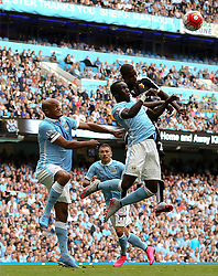 Bacary Sagna of Manchester City climbs to win a header  - Mandatory byline: Matt McNulty/JMP - 07966386802 - 29/08/2015 - FOOTBALL - Etihad Stadium -Manchester,England - Manchester City v Watford - Barclays Premier League