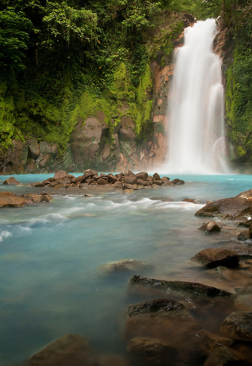 beautiful waterfall on the Rio Celeste in Tenorio Volcano National Park Costa Rica