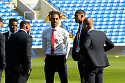 Middlesbrough players on the pitch ahead of the EFL Sky Bet Championship match between Cardiff City and Middlesbrough at the Cardiff City Stadium, Cardiff, Wales on 21 September 2019.