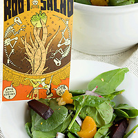 Randolph Crider's beet root tree fruit spinach salad with mustard vinegarette.