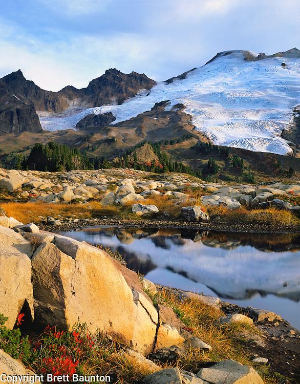 Mt. Baker, WA, USA.Dormant Volcano, 10,778 ft / 3285 m..Mt. Baker Wilderness Area..Ponds on Park Butte Lookout.Fall, S. Side Easton Glacier.4x5 Transparency.© Brett Baunton.