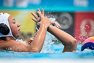 24-07-2017: Waterpolo: Nieuw Zeeland v Nederland: Boedapest<br /> <br /> (L-R) Illustratief shot of Amarens Genee of team Netherlands during the waterpolomatch between women New Zealand and Netherlands at the 17th FINA World Championships 2017 in Budapest, Hungary<br /> <br /> Photo / Foto: Gertjan Kooij