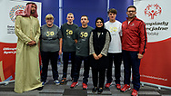 Bydgoszcz, Poland - 2018 October 09: Consul of the United Arab Emirates Mrs Sawsan Abbas Al Alawi while Special Olympics Poland Preparation Camp before the Special Olympics World Games Abu Dhabi 2019 at Zawisza Stadium on October 09, 2018 in Bydgoszcz, Poland.<br /> <br /> Adam Nurkiewicz declares that he has no rights to the image of people at the photographs of his authorship.<br /> <br /> Picture also available in RAW (NEF) or TIFF format on special request.<br /> <br /> Any editorial, commercial or promotional use requires written permission from the author of image.<br /> <br /> Image can be used in the press when the method of use and the signature does not hurt people on the picture.<br /> <br /> Mandatory credit:<br /> Photo by © Adam Nurkiewicz