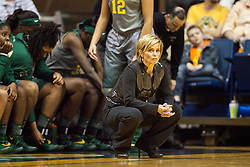 Jan 30, 2016; Morgantown, WV, USA; Baylor Bears head coach Kim Mulkey watches on from the bench during the second quarter against the West Virginia Mountaineers at WVU Coliseum. Mandatory Credit: Ben Queen-USA TODAY Sports