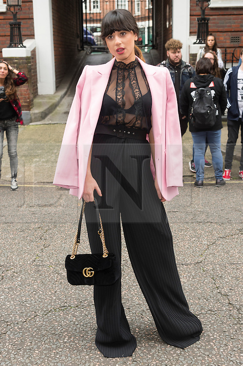 © Licensed to London News Pictures. 17/09/2016.  LOUISA ROSE ALLEN aka FOXES arrives for the JULIEN MACDONALD Spring/Summer 2017 show. Models, buyers, celebrities and the stylish descend upon London Fashion Week for the Spring/Summer 2017 clothes collection shows. London, UK. Photo credit: Ray Tang/LNP