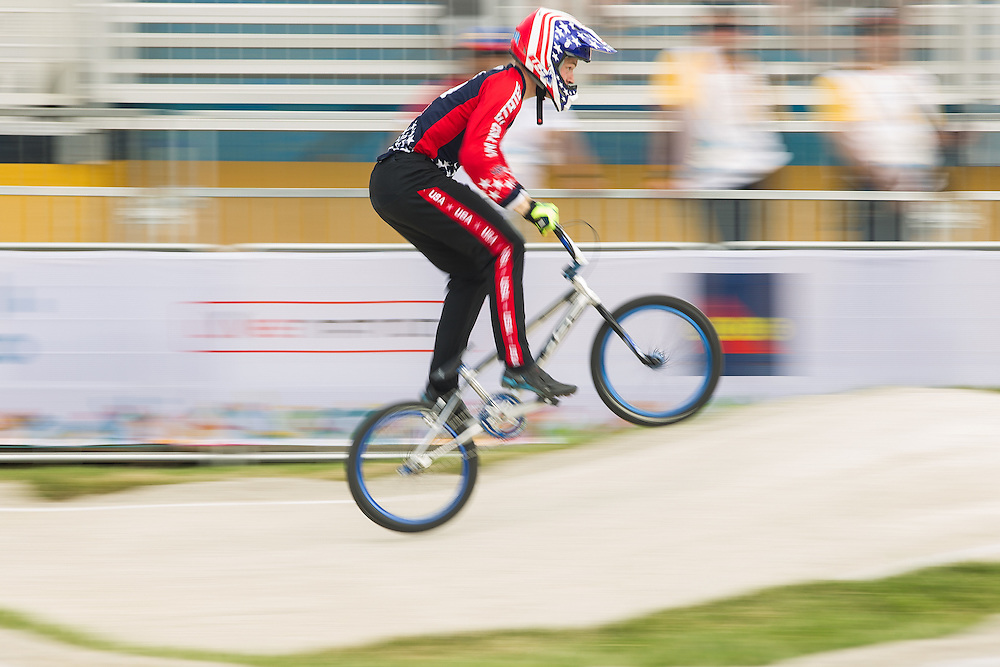 Connor Fields of the United States races in the last heat of  the motos at the BMX competition for the 2015 Pan American Games in Toronto, Canada July 11,  2015.  AFP PHOTO/GEOFF ROBINS
