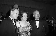 28/04/1965<br /> 04/28/1965<br /> 28 April 1965<br /> Festival of Kerry Dublin Ball at the Gresham Hotel, Dublin. Photo shows (l-r): Mr. Tim Denehy, former Chairman, Dublin Committee; Mrs Nanette Barrett, Chairman , Dublin Committee and her husband Mr. Tommy Barrett.