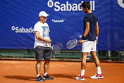April 23, 2018 - Barcelona, Spain - BARCELONA, SPAIN - APRIL 23: Novak Djokovic from Serbia training with his coach Gebhard Gritsch during the Barcelona Open Banc Sabadell 66º Trofeo Conde de Godo at Reial Club Tenis Barcelona on 23 of April of 2018 in Barcelona. (Credit Image: © Xavier Bonilla/NurPhoto via ZUMA Press)