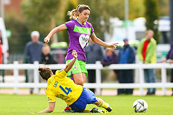 Gemma Evans of Bristol City is tackled by Hayley Ladd of Birmingham City Women  - Mandatory by-line: Ryan Hiscott/JMP - 14/10/2018 - FOOTBALL - Stoke Gifford Stadium - Bristol, England - Bristol City Women v Birmingham City Women - FA Women's Super League 1