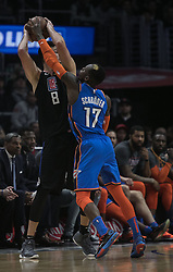 March 8, 2019 - Los Angeles, California, United States of America - Danilo Gallinari #8 of the Los Angeles Clippers tries to pass over Dennis Schroder #17 of the Oklahoma Thunder during their NBA game on Friday March 8, 2019 at the Staples Center in Los Angeles, California. Clippers defeat Thunder, 118-110.  JAVIER ROJAS/PI (Credit Image: © Prensa Internacional via ZUMA Wire)