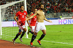 ALEXANDRIA, Nov. 17, 2018  Mohamed Salah (R) of Egypt celebrates scoring during the 2019 Africa Cup of Nations qualifier match between Egypt and Tunisia in Alexandria, Egypt, on Nov. 16, 2018. Egypt won 3-2. (Credit Image: © Ahmed Gomaa/Xinhua via ZUMA Wire)