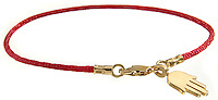red beaded bracelet with gold hand charm
