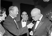 20/09/1967<br /> 09/20/1967<br /> 20 September 1967<br /> International SPAR dinner at the Shelbourne Hotel, Dublin. Picture shows (l-r): Mr George Colley, Minister for Industry and Commerce; Mr D.A. O'Connell, Chairman SPAR (Ireland) Limited and Mr Henri Holland, President, Spar International at the event.