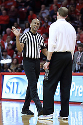 20 January 2017:  Bert Smith explains a call to Dan Muller, Head Coach during an NCAA Missouri Valley Conference mens basketball game Where the Purple Aces of Evansville lost to the Illinois State Redbirds 75-73 in Redbird Arena, Normal IL