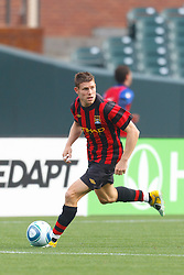 July 16, 2011; San Francisco, CA, USA;  Manchester City midfielder James Milner (7) dribbles the ball against Club America during the second half at AT&T Park. Manchester City defeated Club America 2-0.
