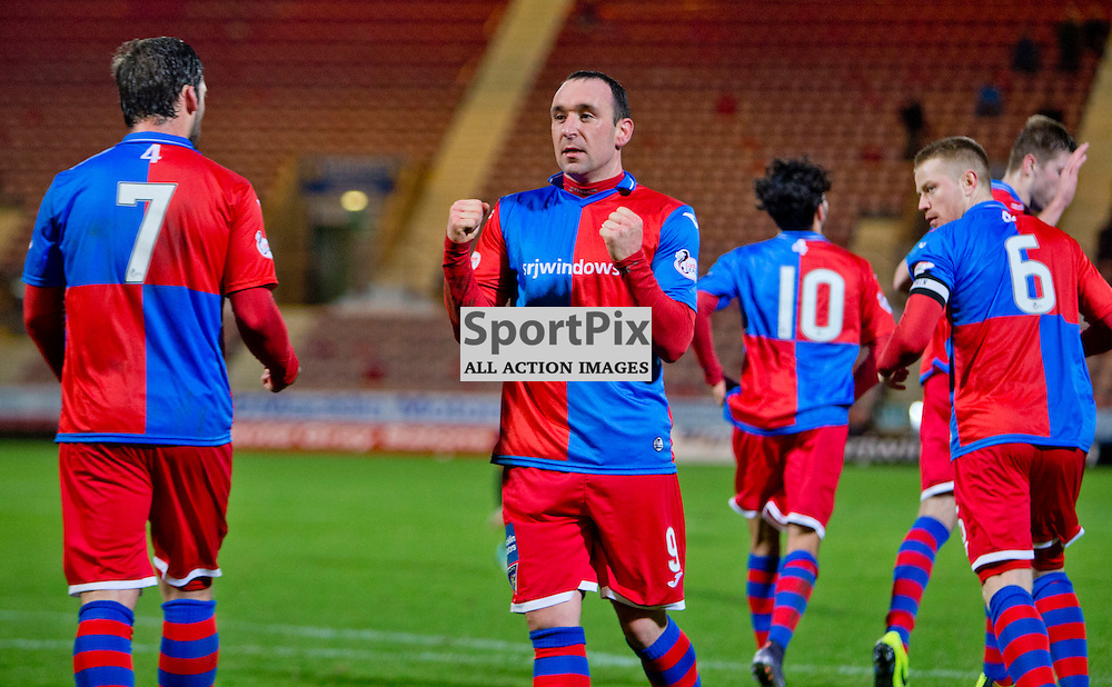 Dunfermline Athletic v Cowdenbeath SPFL League One Season 2015/16 East End Park 02 January 2016<br />  <br /> Michael Moffat celebrates scoring from the spot<br /> <br /> Dunfermline Athletic take on Cowdenbeath in League one, but also comemorate 20 years since the passing of DAFC player Norrie McCathie. Dunfermline and Cowdenbeath were the only two teams McCathie signed for and Dunfermline wear a replica of the strip Norrie last wore against St Mirren at Love Street in 1995. Cowdenbeath also wear a one off strip to comemorate the towns coal mining history. <br /> <br /> CRAIG BROWN | sportPix.org.uk