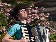 Summer sounds with an accordion player at Bethesda Terrace in Central Park