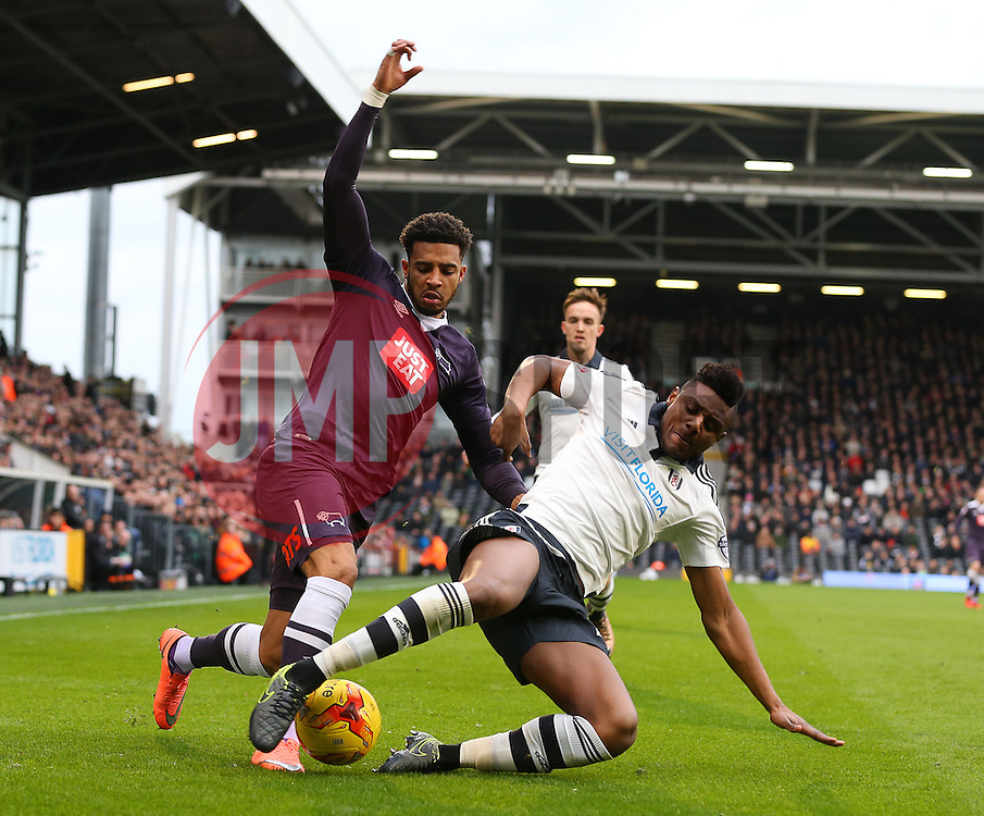 Cyrus Christie of Derby County is challenged by Rohan Ince of Fulham - Mandatory byline: Paul Terry/JMP - 06/02/2016 - FOOTBALL - Craven Cottage - Fulham, England - Fulham v Derby County - Sky Bet Championship
