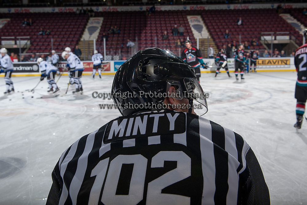 KELOWNA, CANADA - OCTOBER 4: Linesman Dustin Minty stands on the ice during warm up between the Victoria Royals and the Kelowna Rockets on October 4, 2017 at Prospera Place in Kelowna, British Columbia, Canada.  (Photo by Marissa Baecker/Shoot the Breeze)  *** Local Caption ***