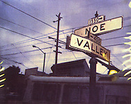 Noe Valley sign shot on Polaroid spectra 600 film and color copy enlarged then scanned from 35mm slide.