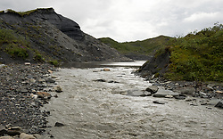 The Thorofare River travels past the terminus of the 34-mile Muldrow Glacier near the Thorofare ranger cabin in Denali National Park in Alaska. The glacier has accumulated rocks and dirt in its journey down from the mountains. This moraine material, along with vegetation growing on top, hides the ice under the surface.